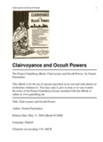 Clairvoyance and Occult Powers - By Swami Panchadasi - Intuition