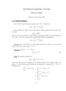 LECTURES IN HARMONIC ANALYSIS Thomas H. Wol