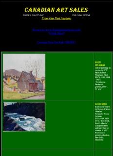 CANADIAN FINE ART AUCTION Walter W.J. Phillips Robert