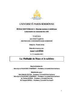 UNIVERSITÉ PARIS-SORBONNE La Thébaïde de Stace et le sublime - Thèses