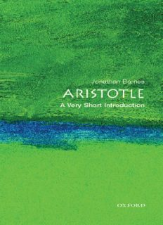 Aristotle: A Very Short Introduction (Very Short Introductions - 32)