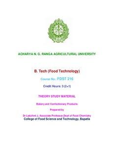 Bakery & Confectionery - acharya ng ranga agricultural university