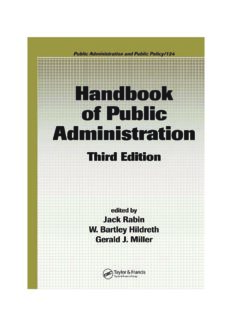 Handbook of Public Administration, Third Edition (Public Administration and Public Policy)