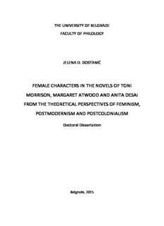 female characters in the novels of toni morrison, margaret atwood and anita desai from the ...