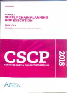 APICS CSCP Certified Supply Chain Professional Module 2 Part 1 Supply Chain Planning And Execution