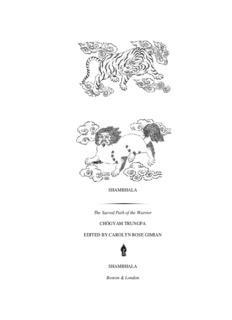 SHAMBHALA The Sacred Path of the Warrior CHÖGYAM TRUNGPA EDITED BY CAROLYN ...