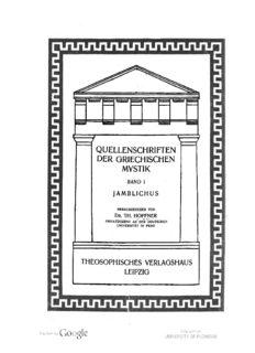 Über die geheimlehren von Jamblichus, aus dem griechischen übersetzt, eingeleitet und erklärt ...