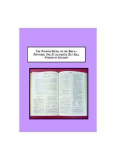 The Wisdom Books of the Bible – Proverbs, Job, Ecclesiastes, Ben Sira, Wisdom of Solomon: A Survey of the History of Their Interpretation
