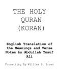 THE HOLY QURAN (KORAN)