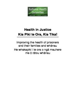Health in Justice: Kia Piki te Ora, Kia Tika!