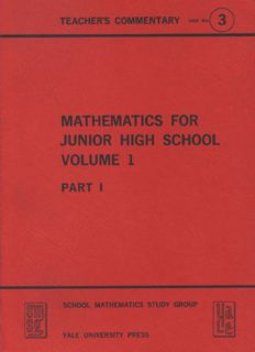 Mathematics for Junior High School Volume 1 Part I