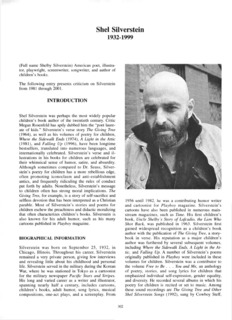 Page 1 Shel Silverstein 1932-1999 (Full name Shelby Silverstein) American poet, illustra- tor ...