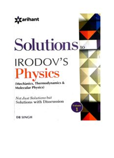 Thermodynamics and Molecular Physics Solutions to Irodov Physics Discussions by D B Singh Arihant