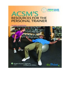acsm's resources for the personal trainer third edition