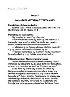 Lesona 1 MANARAKA MPITARIKA TSY HITA MASO Mandalina ny loharanon-kevitra Salamo 119:11