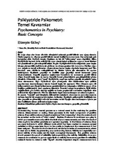 Psikiyatride Psikometri: Temel Kavramlar
