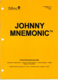 Williams Johnny Mnemonic Manual