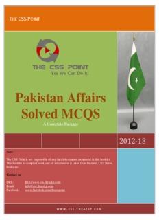 Pakistan Affairs CSS Solved MCQS - Yola