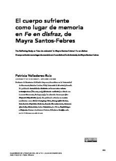 El cuerpo sufriente como lugar de memoria en Fe en disfraz, de Mayra Santos-Febres