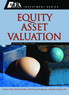 Equity Asset Valuation (CFA Institute Investment Series) - 2nd edition