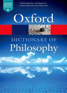 Oxford Dictionary of Philosophy - 3rd Edition - Simon Blackburn