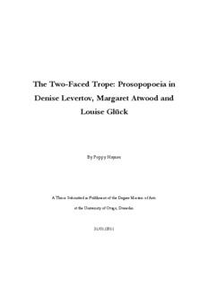 The Two-Faced Trope: Prosopopoeia in Denise Levertov, Margaret