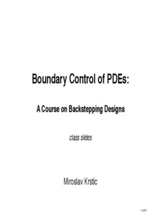 Boundary Control of PDEs: - Miroslav Krstic
