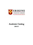 course descriptions - Erskine Theological Seminary - Erskine College