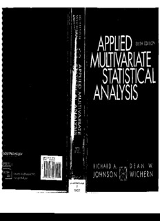 applied multivariate statistical analysis by johnson wichern.pdf