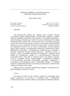 NESKLAD IZMEĐU PALEONTOLOGIJE I MOLEKULARNE BIOLOGIJE Tonći Kokić, Split Sažetak ...