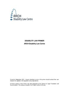 Disability Law Primer (PDF) - ARCH Disability Law Centre