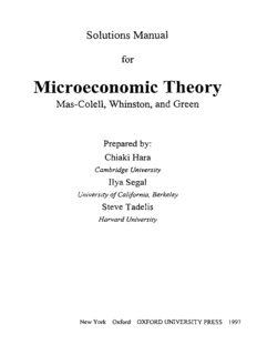 Solutions Manual for Microeconomic Theory