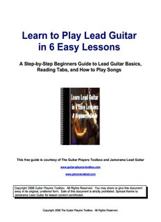 Learn to Play Lead Guitar in 6 Easy Lessons