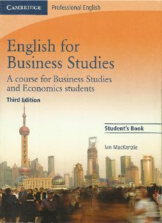 English for Business Studies: A course for business studies and economics students - student's edition (3 ed)
