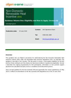 Non-Domestic RHI guidance volume 1