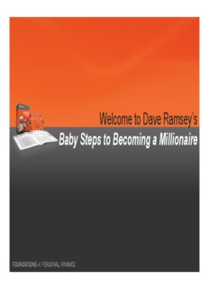 Welcome to Dave Ramsey's Baby Steps to Becoming a Millionaire