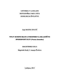 UNIVERZA V LJUBLJANI BIOTEHNIŠKA FAKULTETA ODDELEK ZA ŽIVILSTVO Anja MAHNE ...