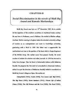 Social Discrimination in the novels of Mulk Raj Anand and Kamala Markandaya