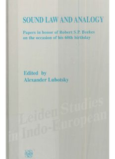 Sound Law and Analogy: Papers in honor of Robert S.P. Beekes on the occasion of his 60th birthday