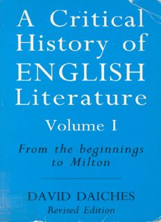 A Critical History of English Literature: From the Beginnings to Milton v. 1