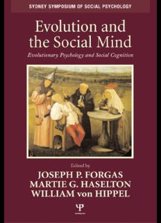 Evolution and the Social Mind: Evolutionary Psychology and Social Cognition (Sydney Symposium in Social Psychology)