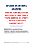 SPORTS INVESTING SECRETS - Free Sports Betting Report