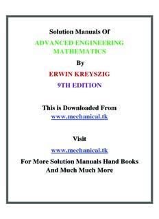 solution manual of advanced engineering mathematics by erwin kreyszig