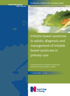 Irritable bowel syndrome in adults: diagnosis and management of irritable bowel syndrome in ...