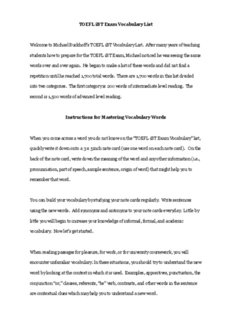 TOEFL iBT Exam Vocabulary List Welcome to - TOEFL course