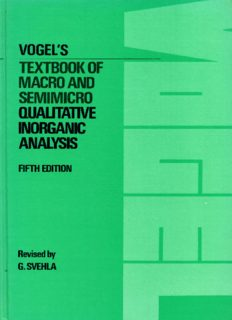 Vogel's Qualitative Inorganic Analysis 5th ed.