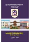 Academic Programmes Details - Ajayi Crowther University, Oyo