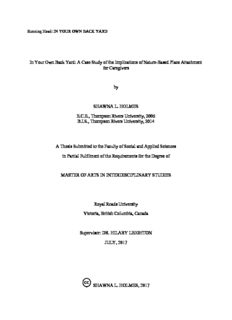 A Case Study of the Implications of Nature-Based Place Attachment for Caregivers by SHAWNA L ...