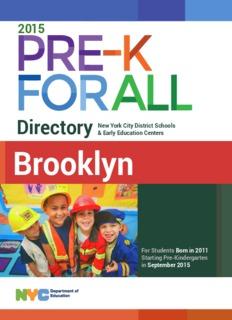 Pre-Kindergarten Pre-Kindergarten Directory Pre-Kindergarten Directory