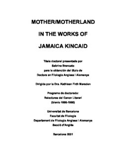mother/motherland in the works of jamaica kincaid
